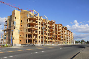 A multifamily condominium under construction.