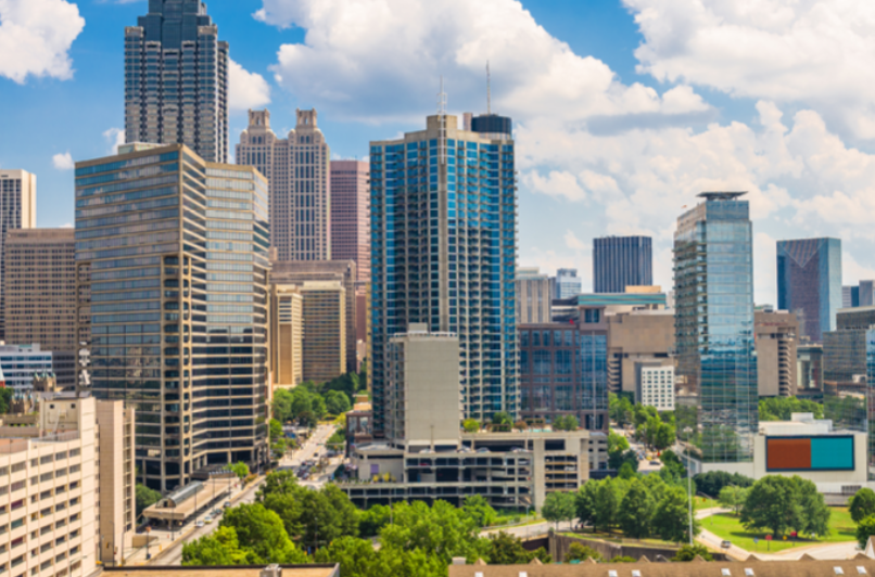 City skyline for multifamily forum promotion